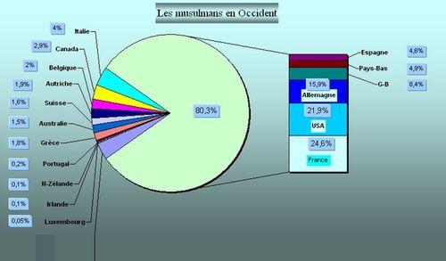 Fig.1 : Distribution des musulmans en Occident