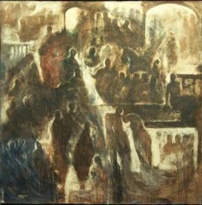 Peinture de Khaled L Khani de 2012 intitulée : la vie sous les bombardements