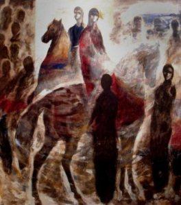 Les habitants du district de Baroudeyeh adoraient  leurs chevaux arabes. Ils leur donnaient leur propre nom pour signifier la relation unique qui les liait à leurs nobles animaux. Le tableau ci-dessus de l'artiste illustre la place centrale que les chevaux occupent dans leur vie.
