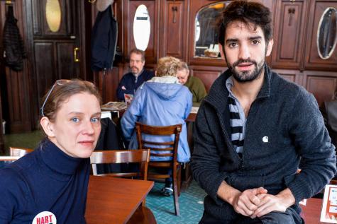 Delphine Noels et Fabrice Murgia ont été désigné par l'assemblée générale du mouvement pour porter sa voix dans les médias. © Pierre-Yves Thienpont / Le Soir.