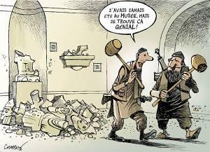 Le Temps L'ironie et l'humour sont parmi les meilleures armes contre la barbarie.... par notre dessinateur Patrick Chappatte http://www.letemps.ch/…/Les_djihadistes_de_lEI_saccagent_le…