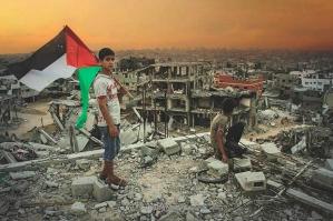 Illustration de la première de couverture du livre « La guerre de 51 jours : ruines et résistance à Gaza » (Photo : Nation Books)